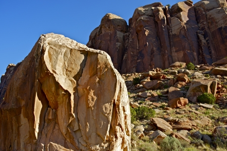 canyonland: Utah Boulders of Canyonlands. Moab, Utah, USA. Sandstone Rock Formations with Large Boulder. Utah Collection.