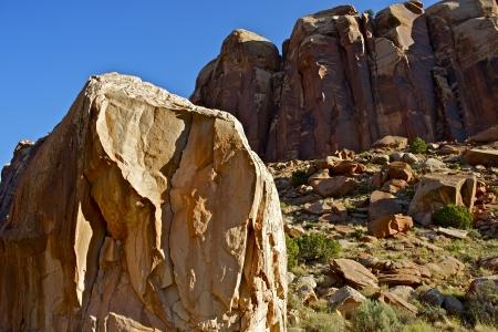 canyonland: Utah Boulders of Canyonlands. Moab, Utah, USA. Sandstone Rock Formations with Large Boulder. Utah Collection.
