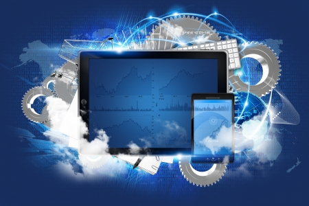 phone system: Cloud Server Technology Illustration. Mobile Devices and Other Elements in the Background. Cool Cloud Servers Illustration. Stock Photo