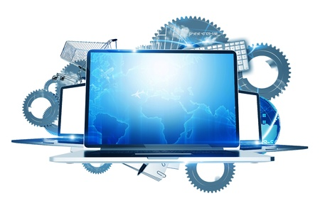 device: Internet Technologies - Computers Technology Illustration. Three Laptop Computers with System Elements in the Background. Metallic Gears, Global Elements and Shopping Cart. Illustration Isolated on White. Stock Photo