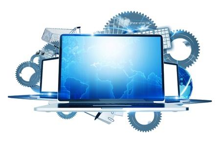 socializando: Tecnolog�as de Internet - Ordenadores Tecnolog�a Ilustraci�n. Tres computadoras port�tiles con los elementos del sistema en segundo plano. Engranajes met�licos, elementos globales y Compras. Ilustraci�n aislado en blanco.