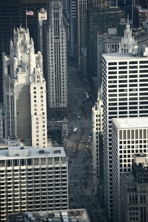 magnificent mile: The Magnificent Mile From Above. Chicago Michigan Avenue from Bird Eye View. Chicago, Illinois, USA. Stock Photo