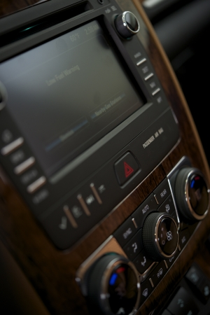 systems operations: Car Audio with Navigation and Entertainment System. Car Interior. Stock Photo