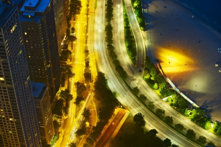 lake shore drive: Night Streets of Chicago. Chicago Lake Shore Drive From Above. Traffic Motion in Long Exposure Photography.