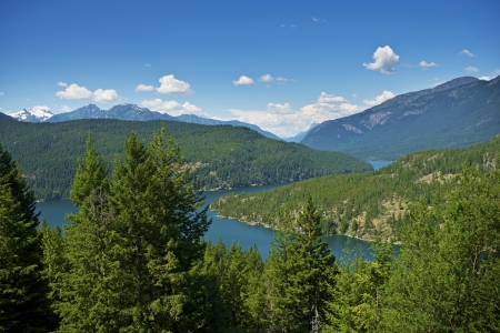 North Cascades Mountains in Washington State. Scenic Cascades Landscape. Lake Diablo Below. Stock Photo