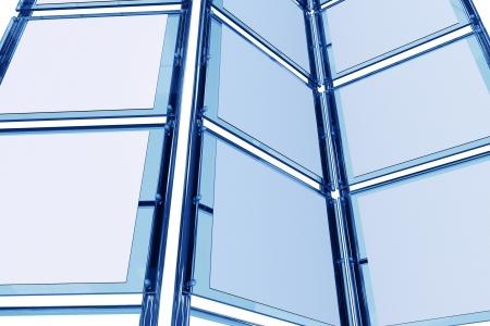tradeshow: Glassy 3D Display. Trade Show Display Closeup. 3D Render Illustration. Stock Photo