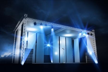 stage lights: Concert Stage Illumination Illustration. Cool 3D Concert Scene Render Graphic. Cool Blue Laser Lights.