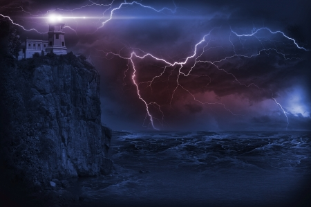 Storm and Lighthouse Illustration. Heavy Storm at NIght and Lighthouse on the Rock.