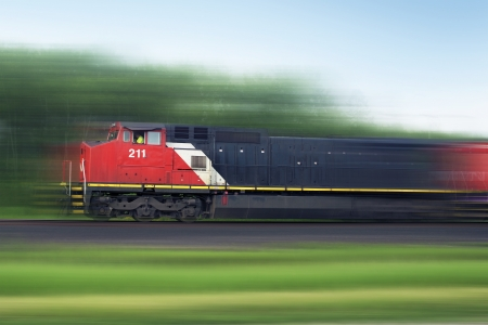 Train Rush. Speeding American Train. Railroad Collection.