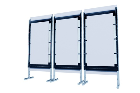 bluish: Display Stand 3D Illustration Isolated on White. 3D Render. Multi Modules. Trade Show Display. Business Collection. Stock Photo