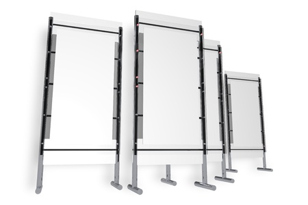 Presentation Stand Isolated on White. Trade Show Display Stand. Four Glassy Elegant Stands. Business Illustrations Collection.