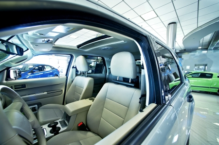 Cars Dealer Showroom Small SUV. Wide Angle Photo. Car Business Photo Collection.