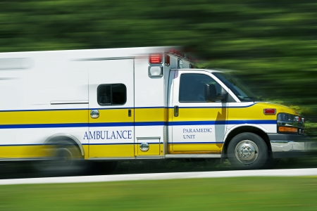 Ambulance Paramedic Unit in Motion. Speeding Ambulance. Emergency Call. Healthcare Photo Collection.