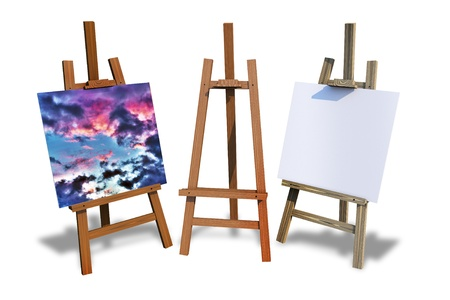tripods: Wood Painting Easels Isolated on White. Painting Theme Illustration. Three Painting Easels. One with Paint, One with Empty Canvas and One with no Canvas. Stock Photo