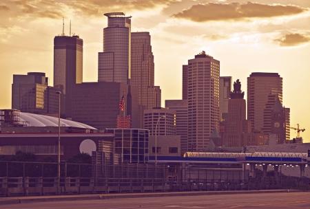 american midwest: Minneapolis Skyline in Ultraviolet Color Grading. Minneapolis, Minnesota, USA.