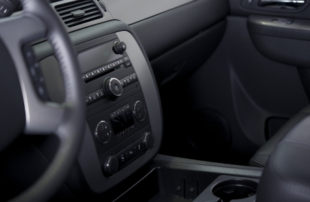 Vehicle Modern Dashboard - Climate Control and Entertainment System. Car Interiors Collection.