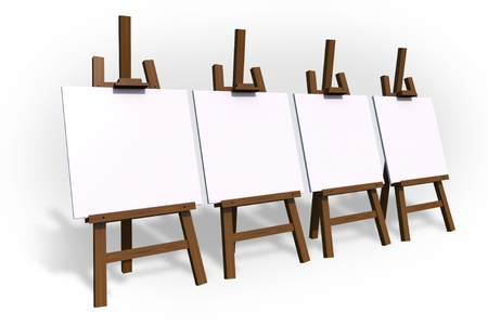 isolated: Four Empty Painting Easels Isolated on White.