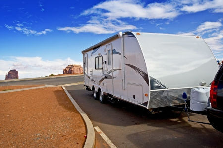 Recreational Vehicle RV - Modern Lightweight Travel Trailer in Arizona, USA. Recreation and Outdoor Photo Collection.