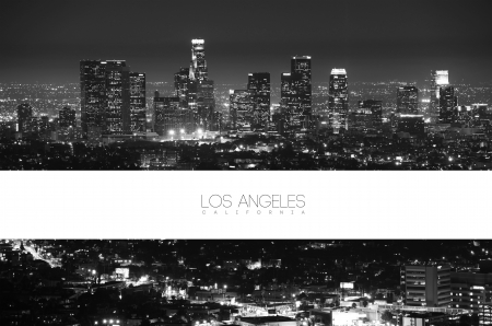 horizontal: Los Angeles Black and White at Night - Panorama Postcard Design. California Collection. Editorial