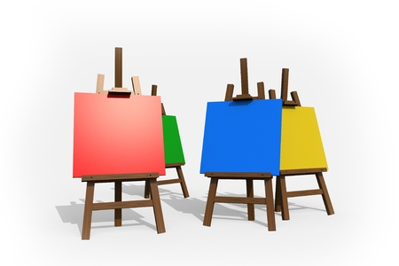 Colorful Painting Easels Isolated on White. Four Easels in Four Different Colors.