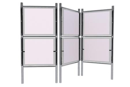Glassy Elegante Stand espositivo. Fiera del banco di mostra isolato su bianco. Collezione di business. Archivio Fotografico - 21296279