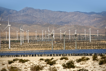 Solar and Wind Energy Plantation in Southern California, USA. Alternative Energy Sources Photo Collection. photo