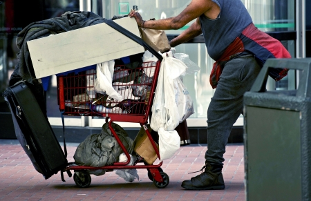 Homeless with Shopping Cart in San Francisco, California, USA. Economy Theme.