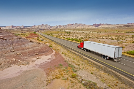 Truck on the Utah Wilderness Highway. American Highway and Transportation System. Utah, USA. Stock Photo