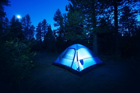 sleep: Forest Camping - Small Illuminated Tent at Night. Camping in California Forest, USA. Camping and Outdoor Photo Collection. Stock Photo