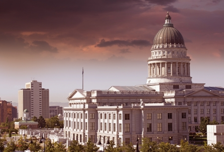 salt lake city: Salt Lake City - Utah Capitol Building y Salt Lake City Downtown. Foto de archivo