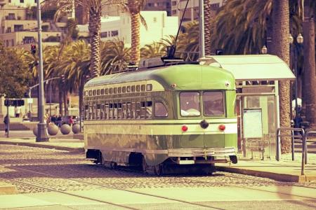 tramcar: The Trolley - San Francisco Historic Tram ( Trolleycar or Tramcar ) in Sepia Color Grading. San Francisco, California, USA. Historical Transport System. Editorial