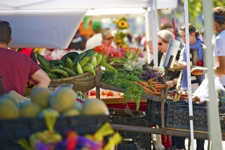 farmers market: Farmers Market in San Francisco, California USA. Fresh Vegetables and Fruits on the Tables. Organic Farmers Market. Editorial