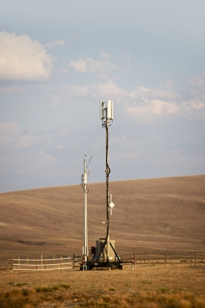 Mobile Cellular Tower in Wyoming Wilderness. Cellular Technology