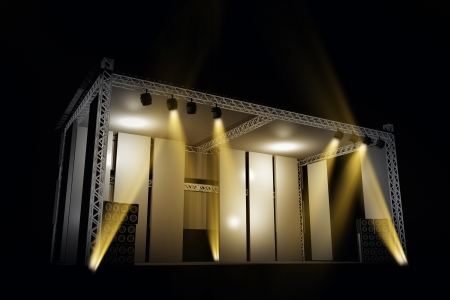 outdoor lights: Illuminated Music Stage 3D Illustration. Music Illustrations Collection.