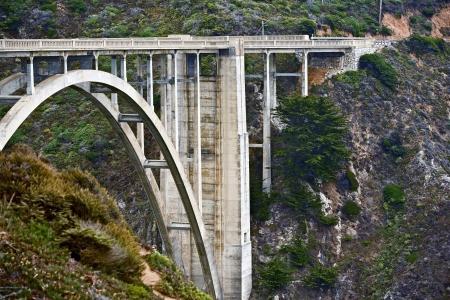 bixby: Caliofrnia Bixby Creek Bridge Closeup. Arch Bridge in Big Sur, California, USA.