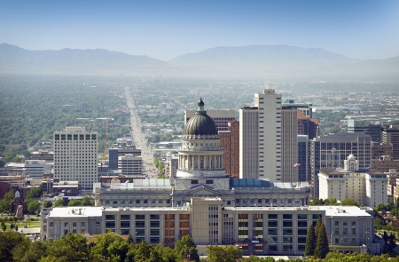 Salt Lake City Panorama and Capital Building. Salt Lake City, Utah, USA photo
