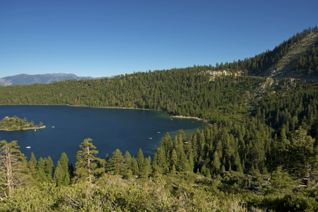 fannette: Lake Tahoe in Sierra Nevada Mountains  Fannette Island on the Left  Southern Lake Tahoe Panorama  California Photo Collection  Stock Photo