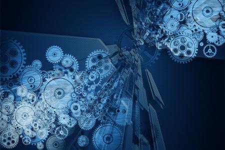 Mechanica Achtergrond Metal Gears en Wheels Mechanics Cool blauwe achtergrond mechanische Technology Achtergrond Stockfoto