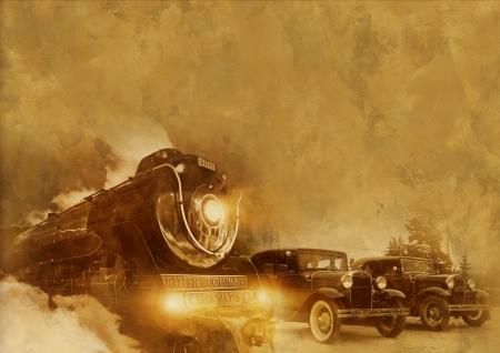 Back Time Journey Vintage vervoer Achtergrond met Vintage Classic Cars en Oude stoomlocomotief Vintage Achtergronden Collection