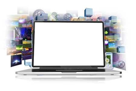 multimedia icons: Internet and Media Abstract Concept Illustration with Modern Laptop Computer and Photos Background Isolated on White. Image Sharing Theme. Web Technology Concepts Collection.