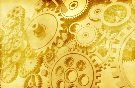 Vintage Mechanics Backdrop. Aged Cogwheels and Gears Mechanical Background Design. Golden Sepia Color. Technology Backgrounds Collection.