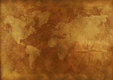 frontiers: Aged World Map Vintage Background. Backgrounds Collection.