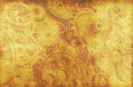 Vintage Technology Sepia Background with Gears and Cogwheels.  Stock Photo