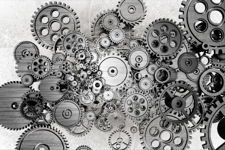 clock gears: Grunge Gears Background. Black and White Dirty Grunge Mechanical Background.