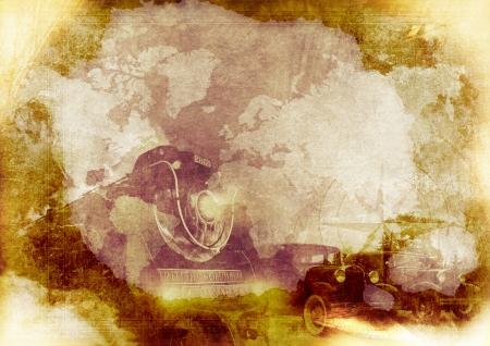 Grungy Vintage Transportation Achtergrond met Stoomlocomotief, Classic Cars en Compass Rose. Vintage Aged Papier.