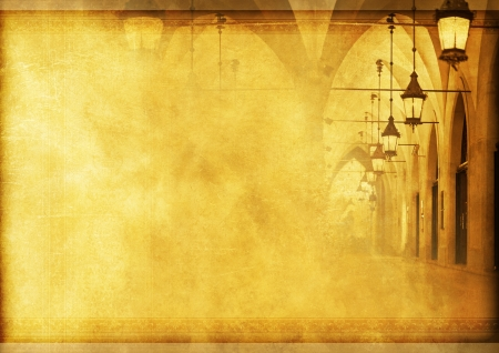 Medieval Vintage Background with Vintage Lighting and Arches. Vintage Backgrounds Collection. Фото со стока
