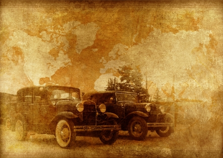 Classic Cars Background. Oldtimers World. Vintage Cars on a Vintage Aged Travel Map Paper Background. Vintage Backgrounds Collection. photo