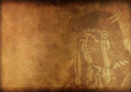 Vintage Shaman Background. Native American Shaman Portrait on Grungy Vintage Background.