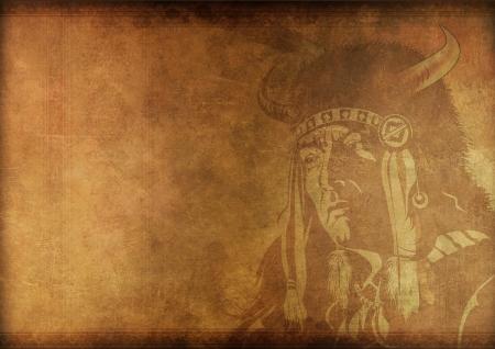 shamanism: Vintage Shaman Background. Native American Shaman Portrait on Grungy Vintage Background.