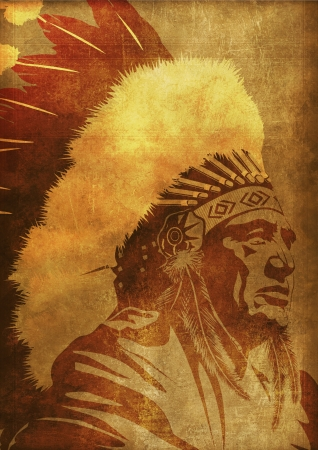 indian old man: Native American Chief Portrait Vintage Grunge Background. Native American Collection.